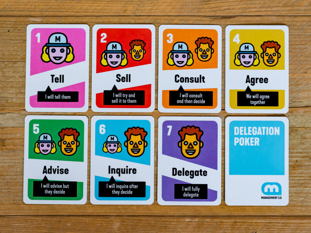 The seven Delegation Poker card: tell, sell, consult, agree, advise, inquire, delegate