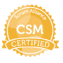 Certified ScrumMaster(CSM) badge issued by Scrum Alliance
